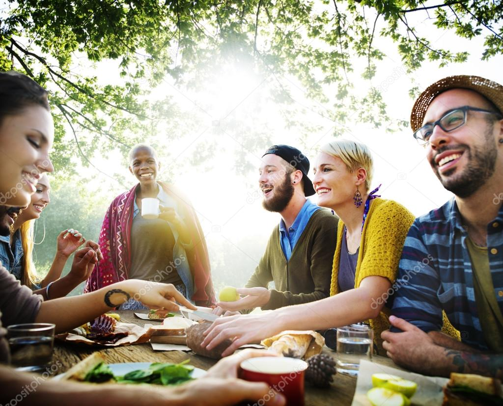 Friends Dining Outdoors, Friendship Concept