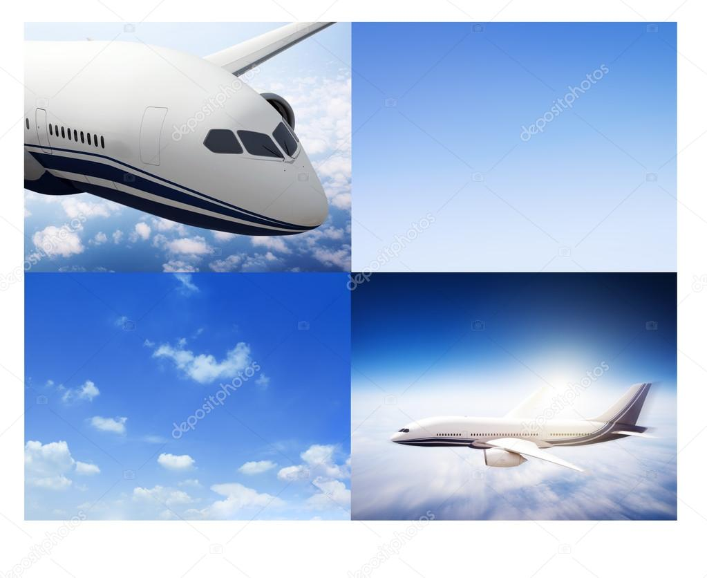 collage Flight Airplanes Horizon