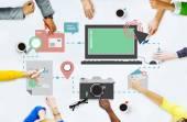 Média sociální sítě připojení koncepce