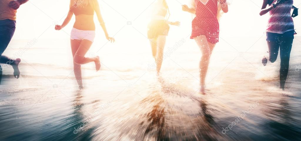 Friendship and Freedom at Summer Beach Concept