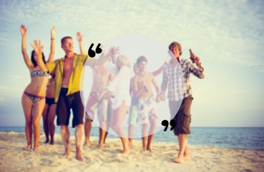 happy group of friends at beach party