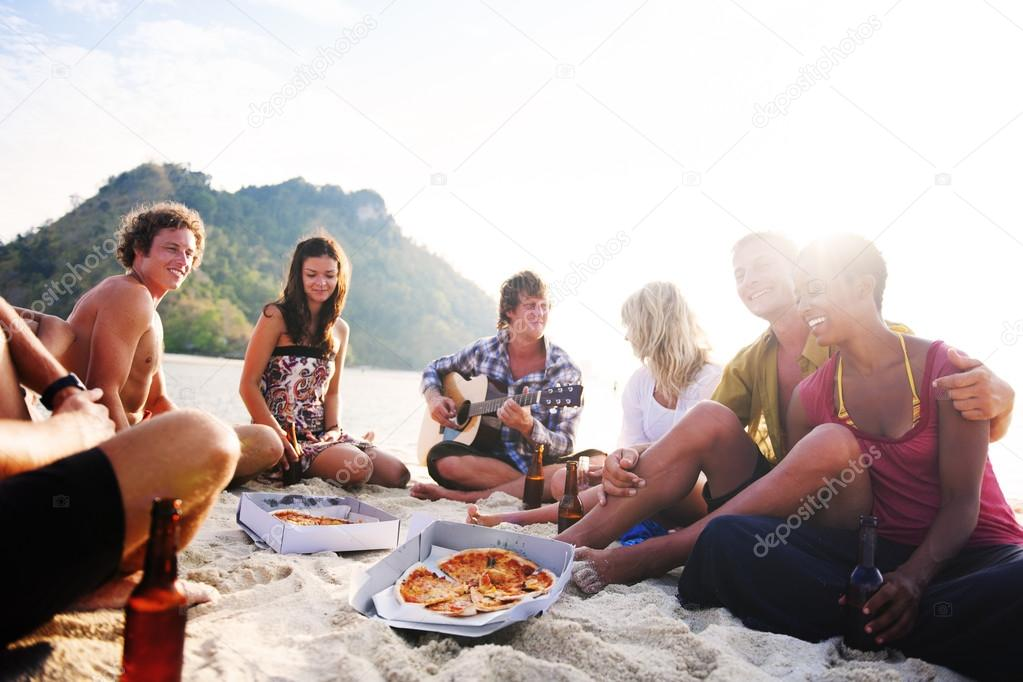 Group of friends having beach party Concept