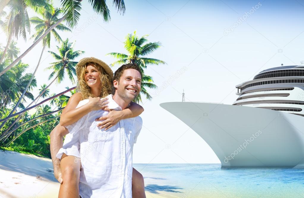 Couple at Beach, Love on Island Concept