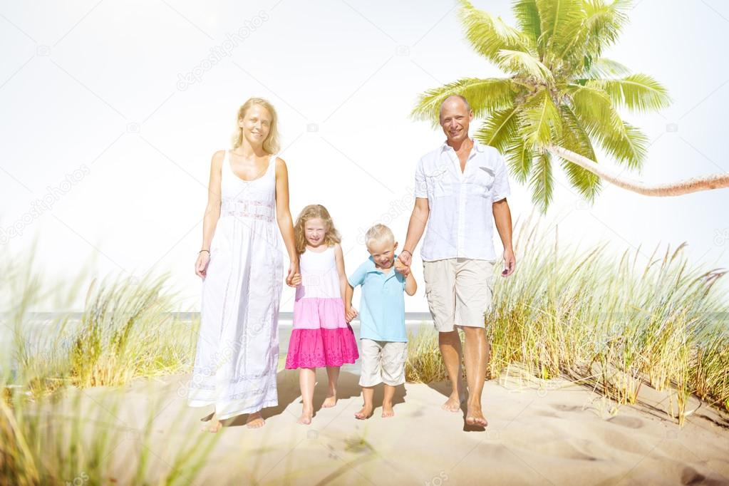 Family Walking on Vacation Concept