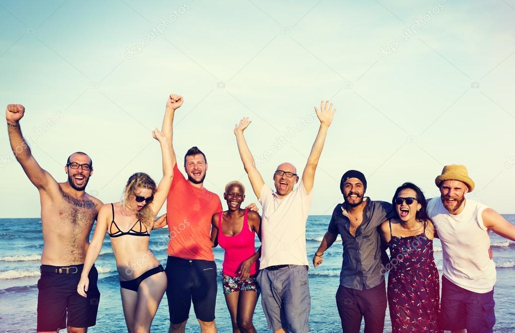 Friends on Beach at Summer