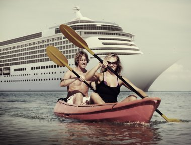 Couple Kayaking, Happiness Concept