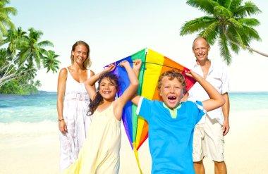 Family on Beach, Summer Concept