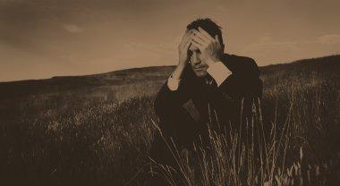 Lonely businessman depressed Concept