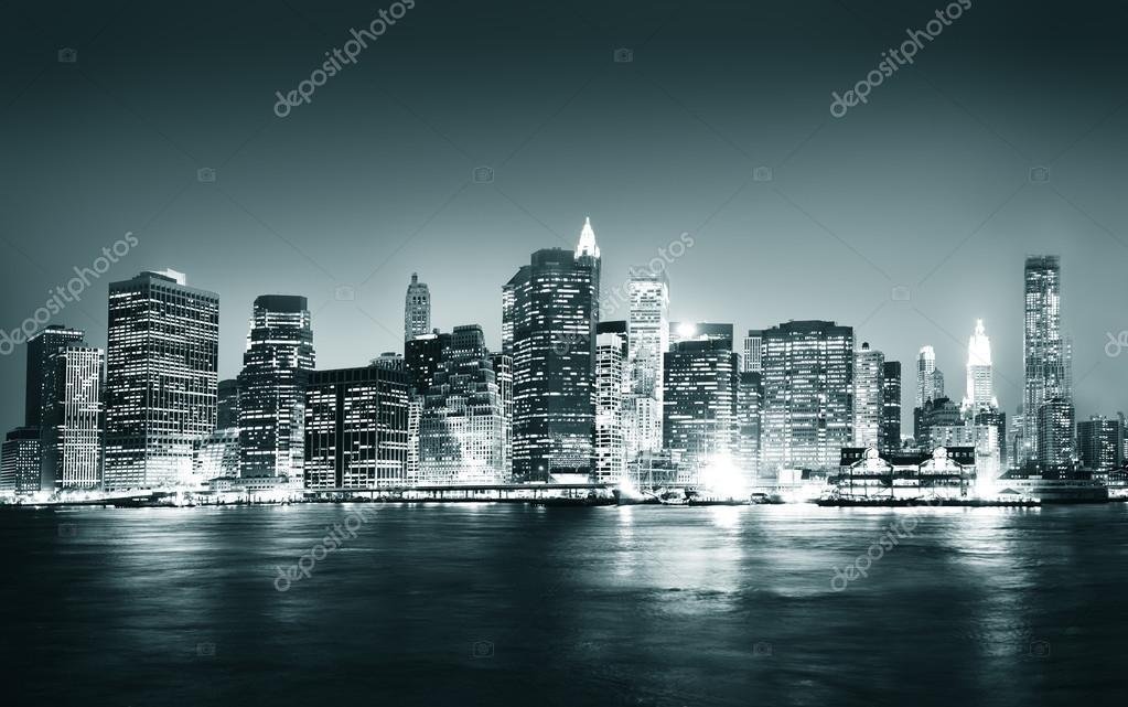 edificios el concepto de ciudad de nueva york de noche panormica u fotos de stock