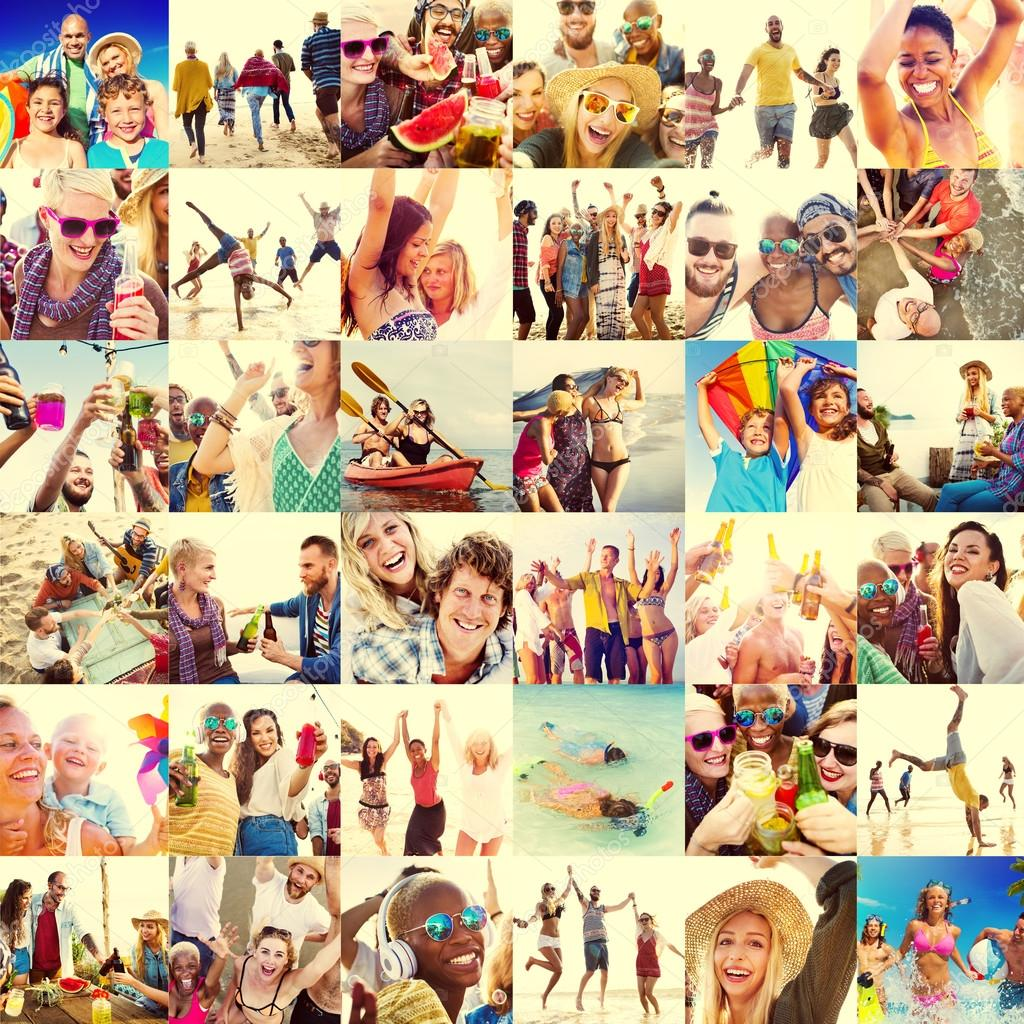 Faces and Summer Beach People Concept