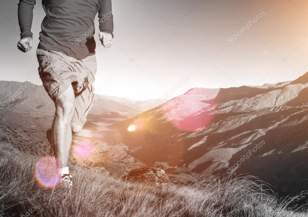 Man Jogging at Mountains