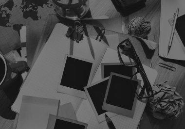 Photgrapher Messy Desk Concept