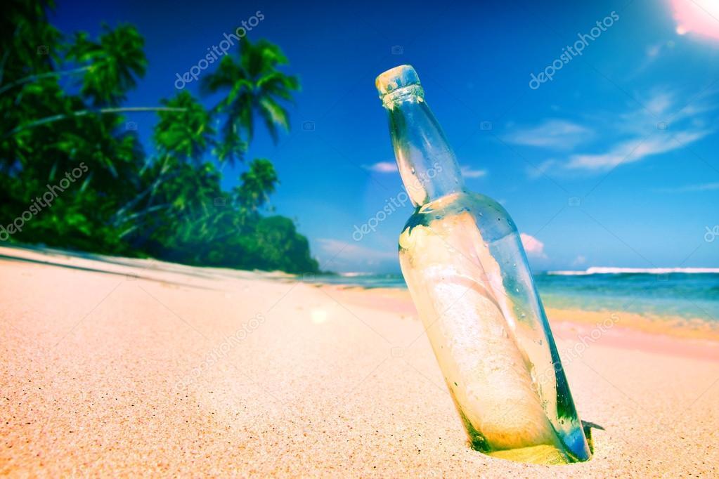 Message Bottle Sending Sea Concept