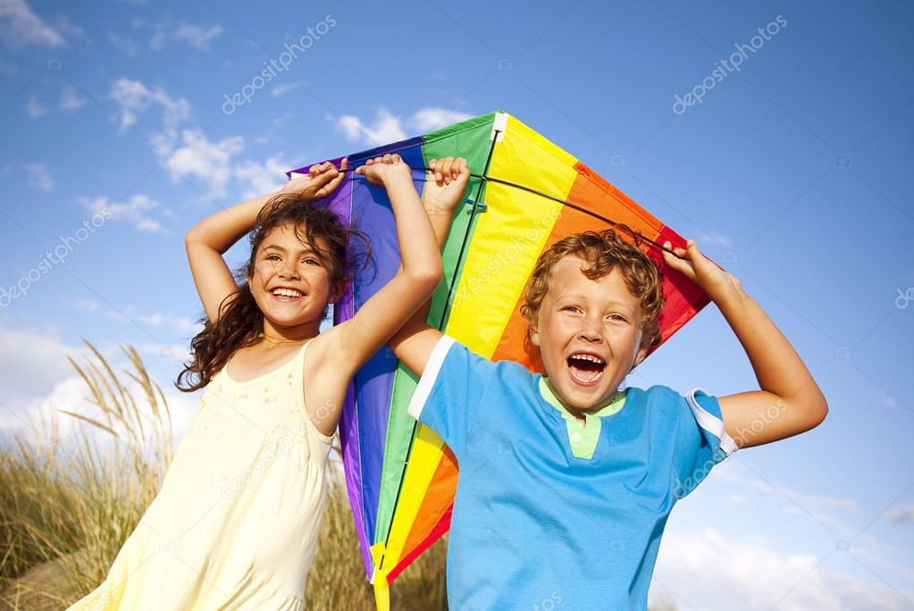 Children Playing Kite