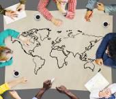 Gente di affari e concetto di cartografia
