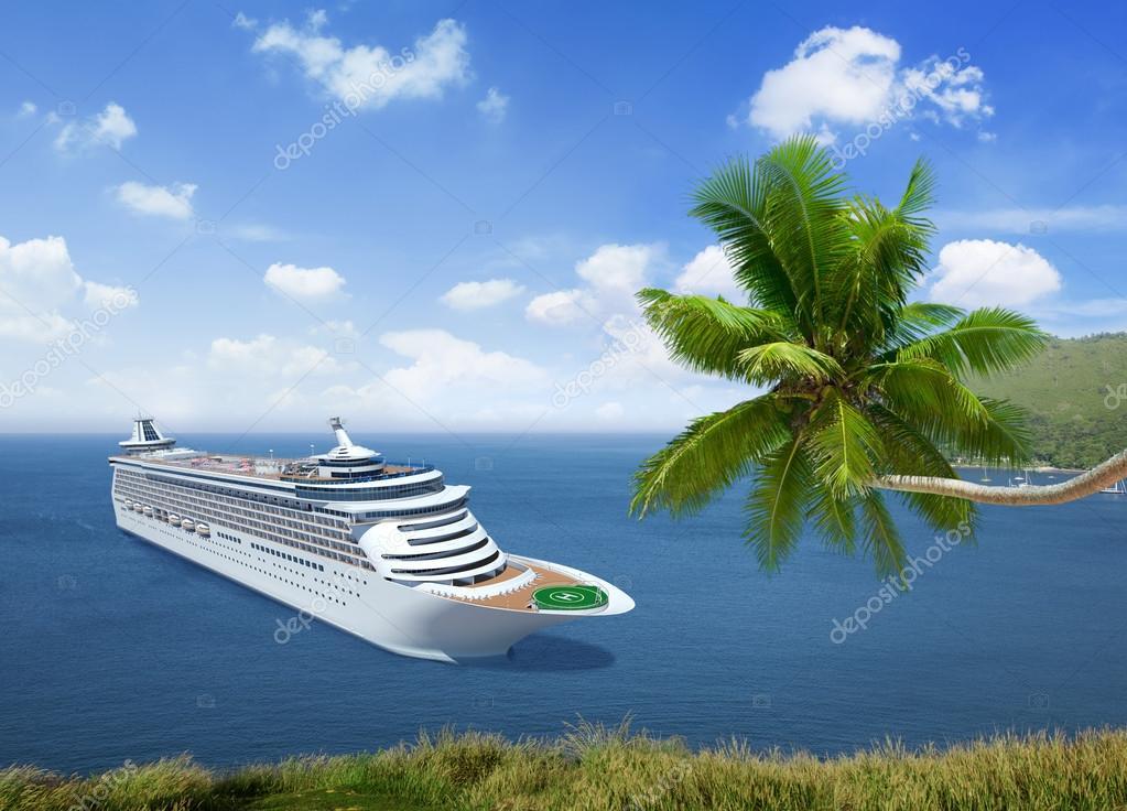 Cruise ship and Ocean Summer Island Concept