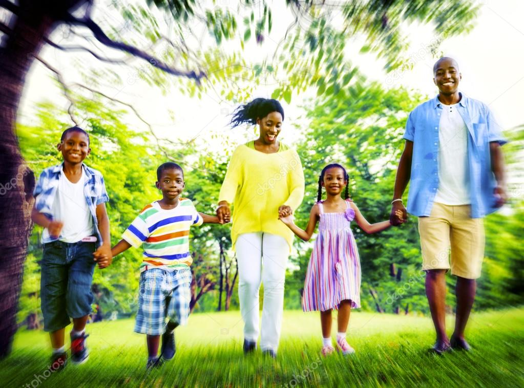 happy African family Vacation Concept