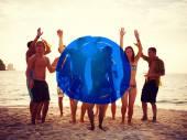 Fényképek emberek, ünnepek, kék jelölőt a koncepció
