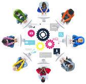 Týmová práce technologie obchodní koncept