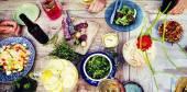 Potraviny, nápoje, strana jídlo koncept