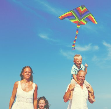 Family at Beach Holiday Flying Kite at Sea Concept