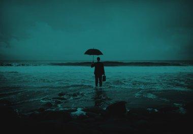 Lonely Businessman Beach Concept