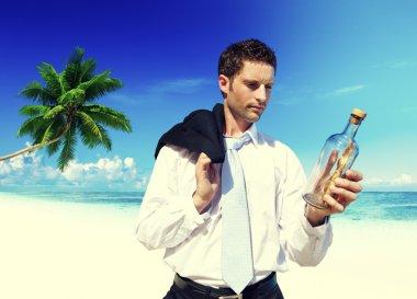 Businessman Message Bottle Concept