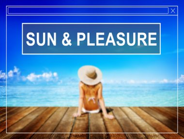 Sun and Pleasure, Summer Beach Vacation Concept