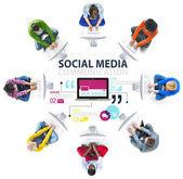 Sociální média technologie připojení koncept