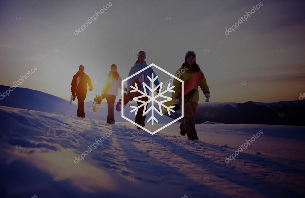 Group of Snowboarders on Mountain