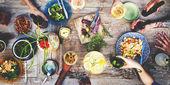 Jídlo nápoj strany jídlo pití koncept