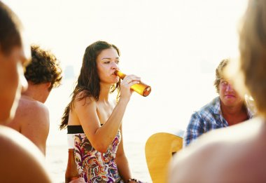 Woman Drinking at Party Concept