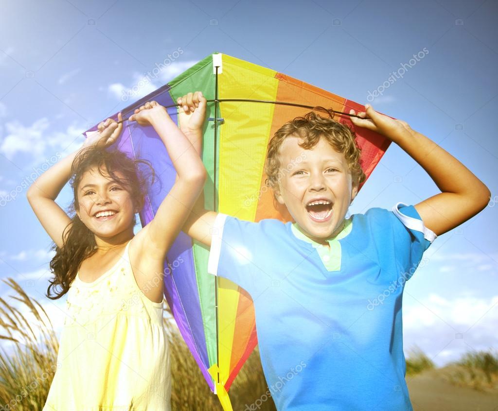 Children Playing Kite