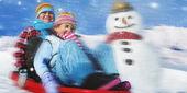 Fotografie chlapec a dívka Veselé Vánoce