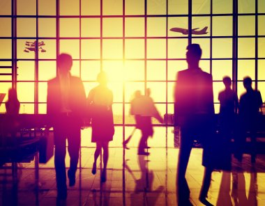People silhouettes in airport