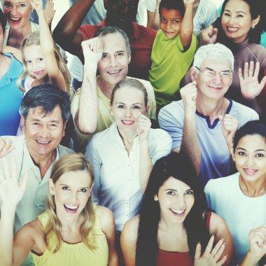 Group of diversity people celebrating success