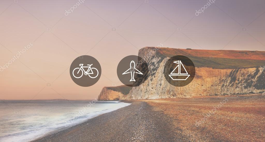 Jurassic coastline and Travel Concept