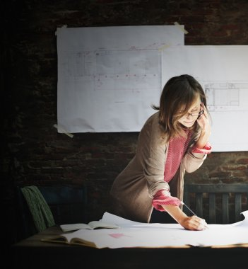 Architecture Woman Working Concept