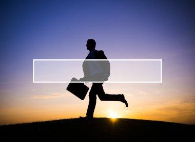Silhouette of Businessman running
