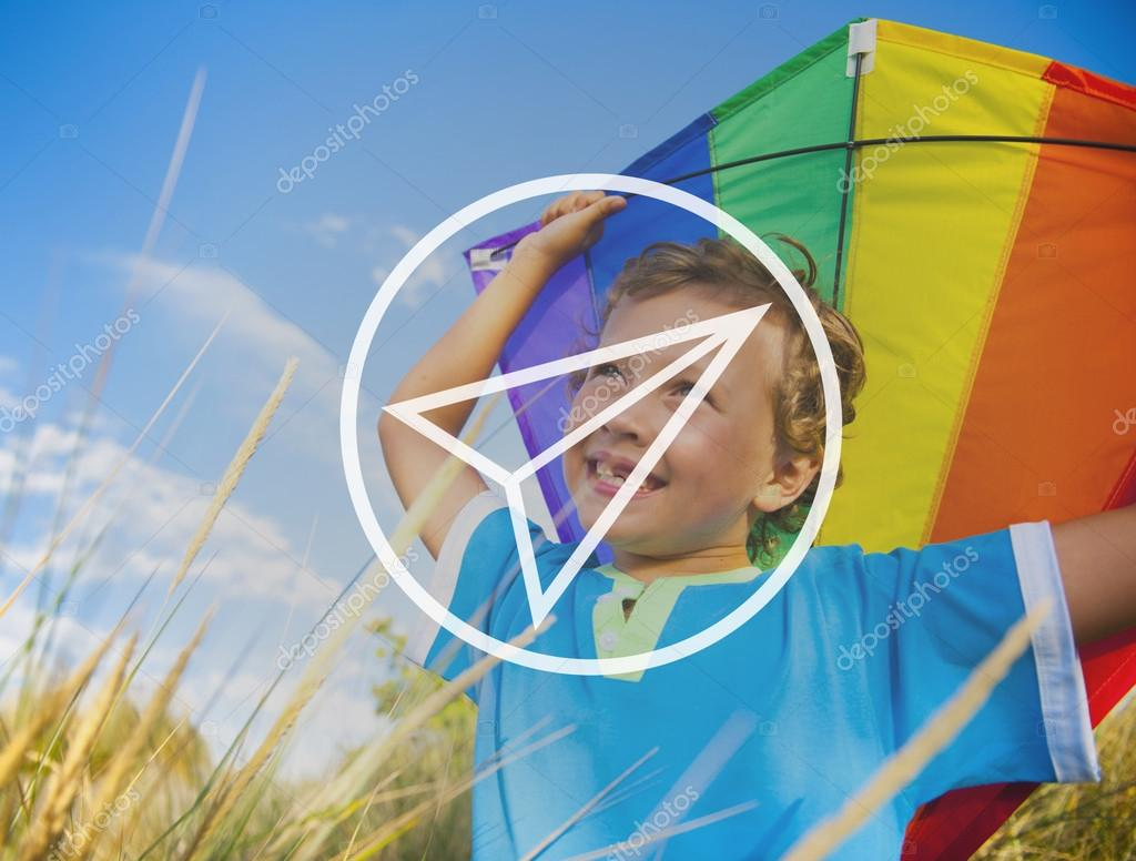 Cheerful boy Playing Kite
