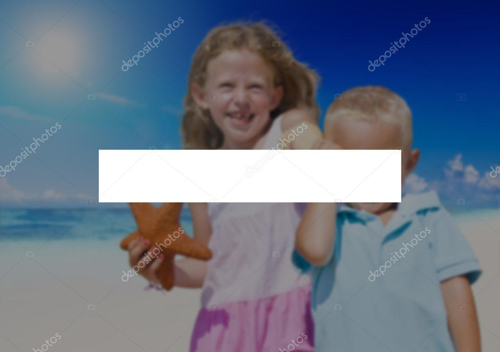 Happy kids at beach
