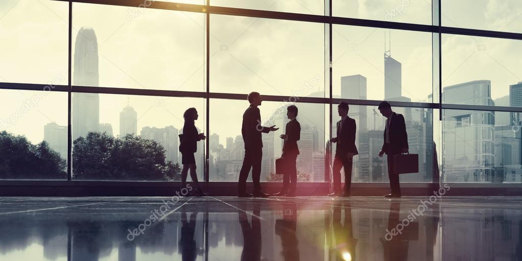 talking business people
