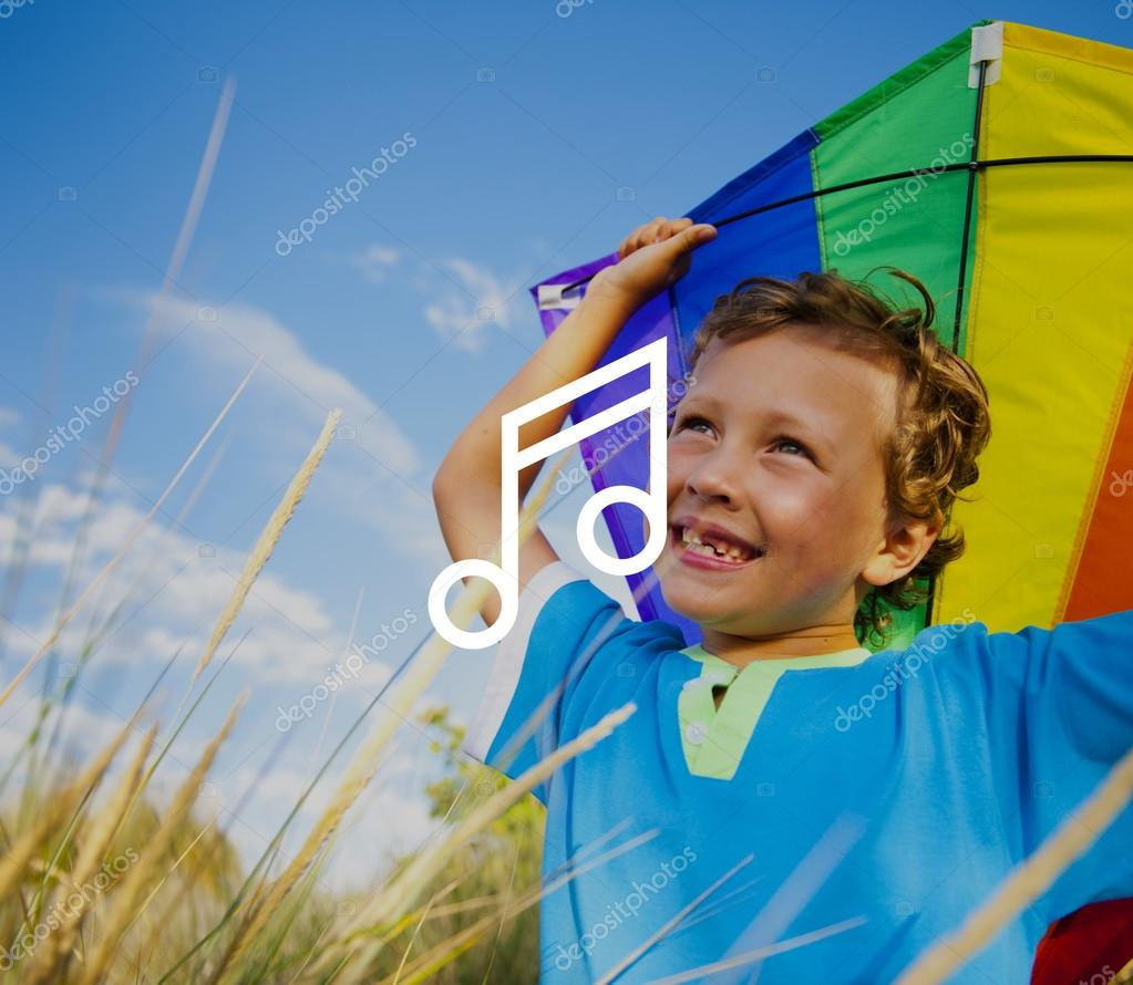 Cheerful boy Playing Kite