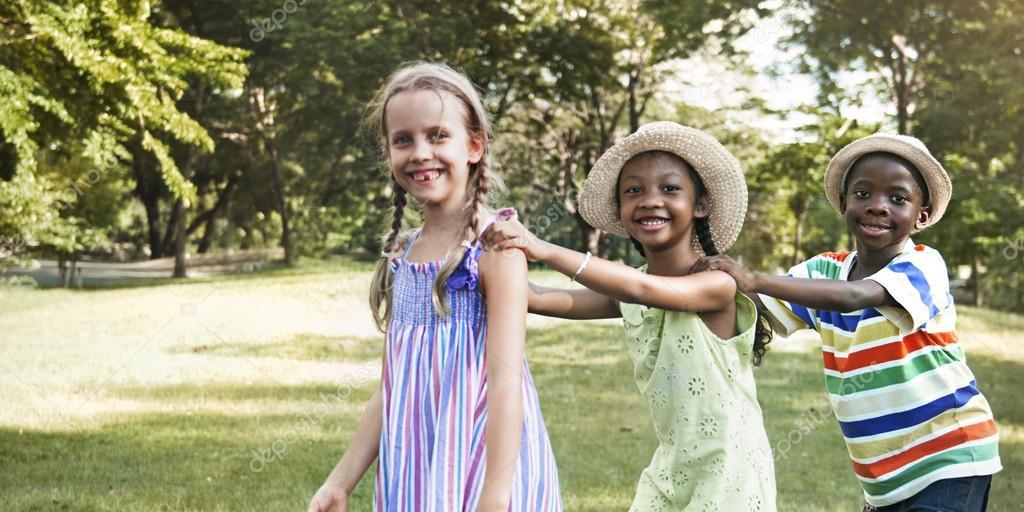 multi ethnic children outdoors