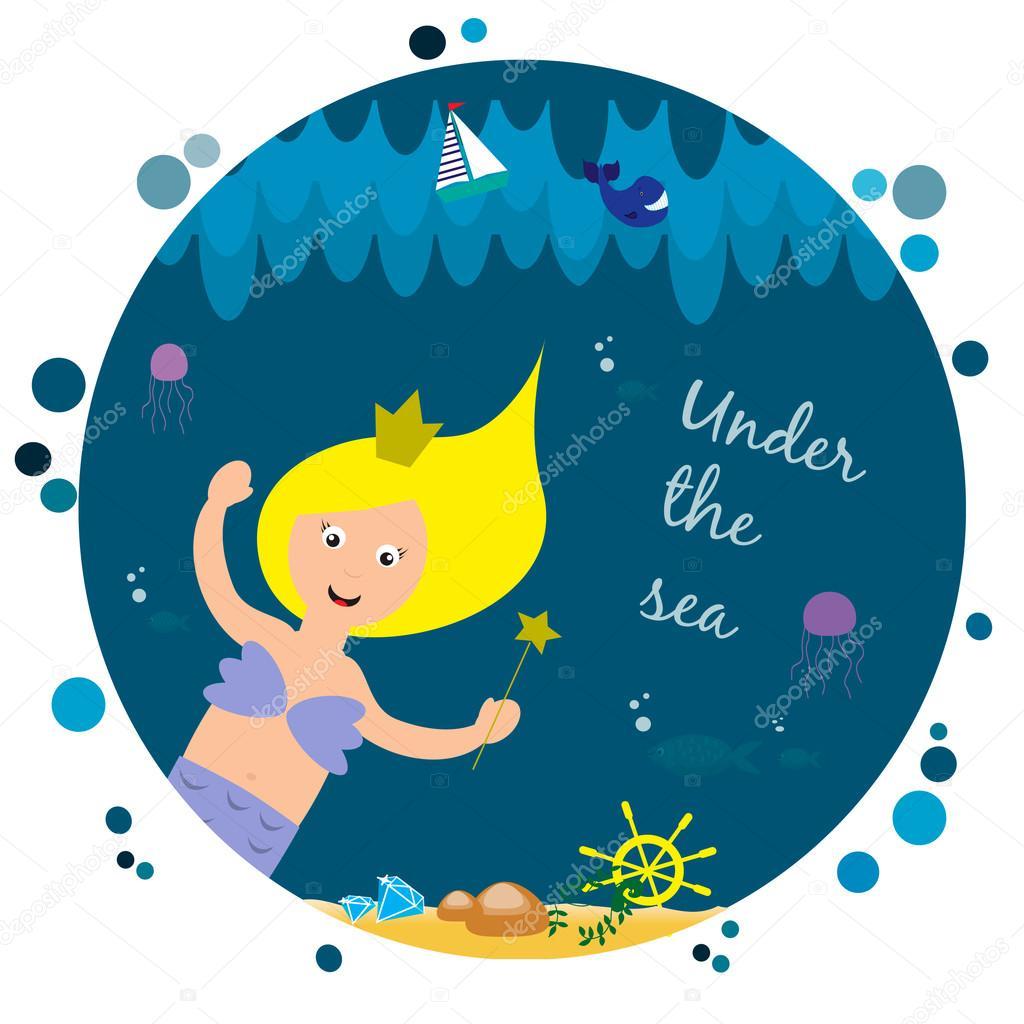 Cute little mermaid under the sea