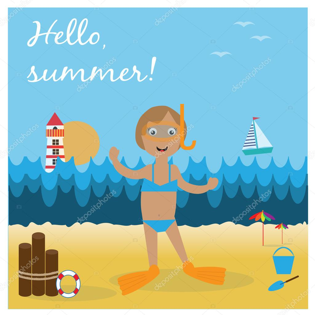 Illustration with girl on the beach with diving goggles and flippers.