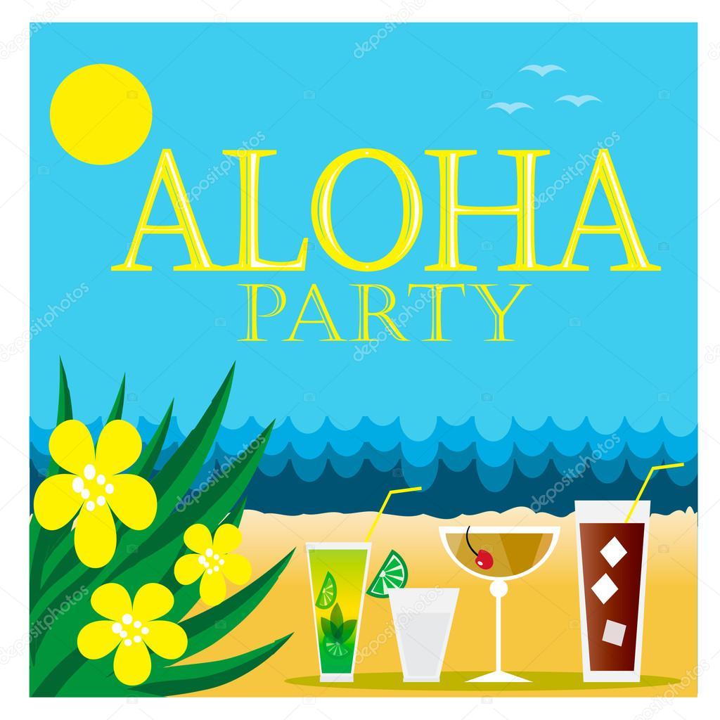 Hawaiian party invitation — Stock Vector © Zulfiska #123399390
