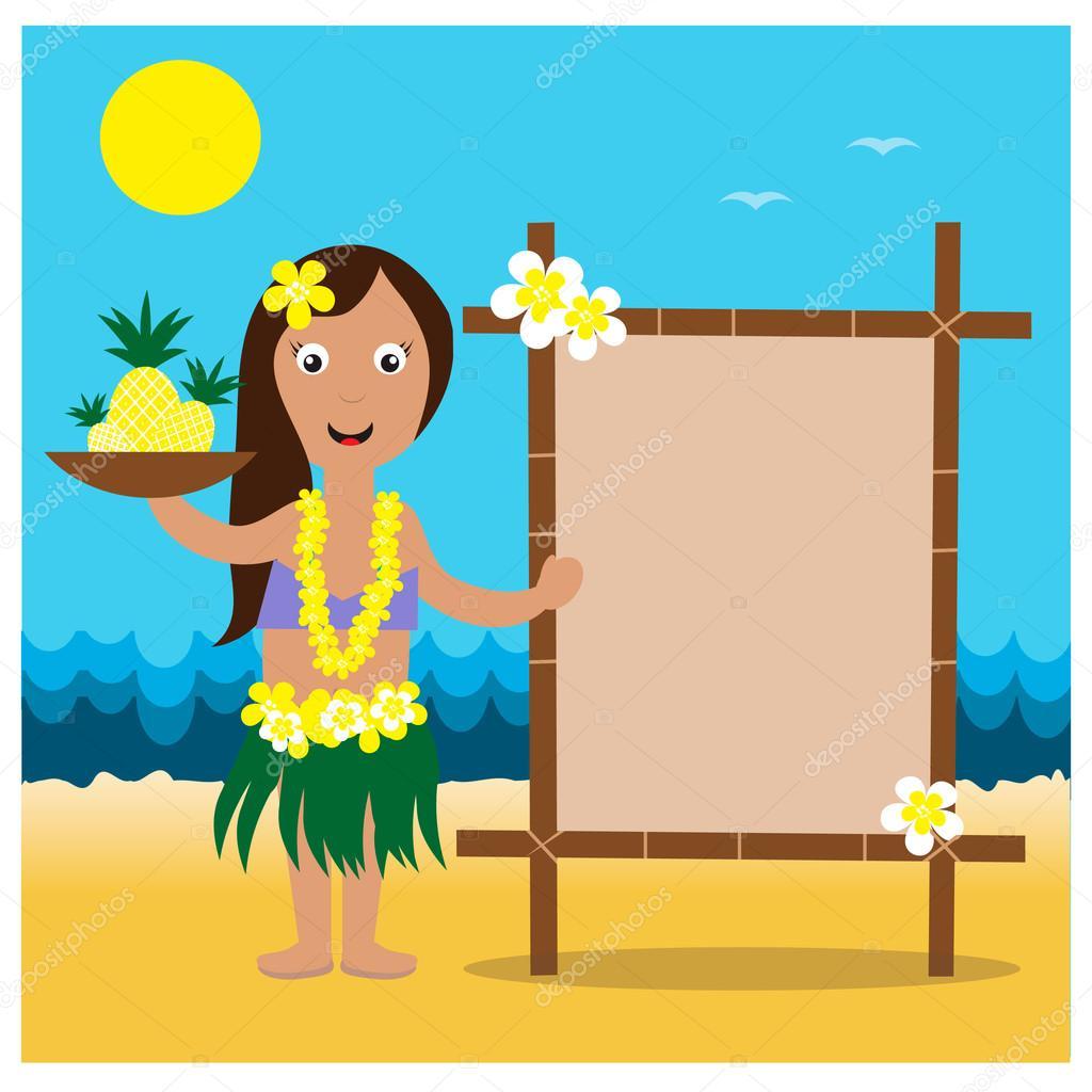 Hawaiian cards with hula pretty girl