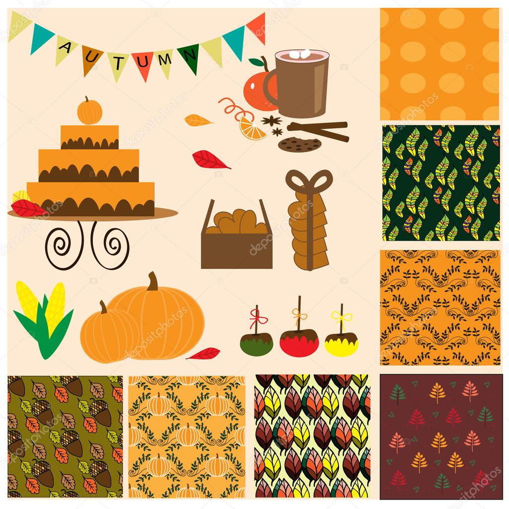 Autumn collection with 7 seamless patterns, food and other element
