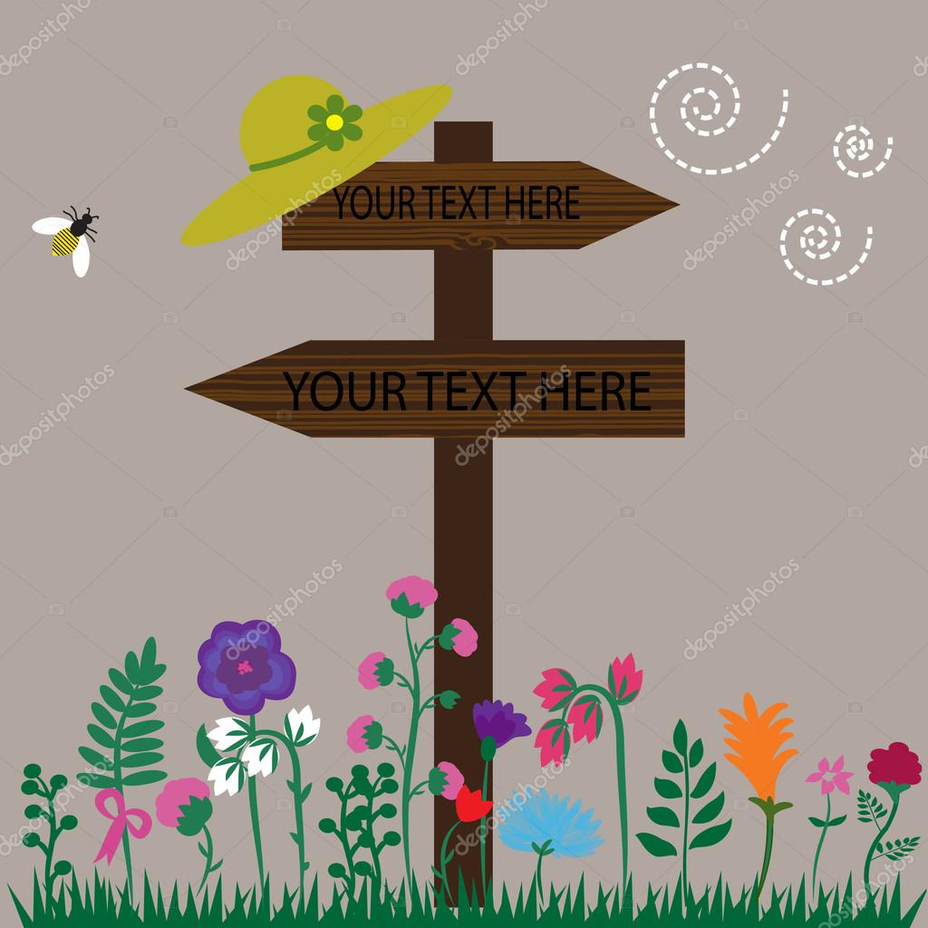 Wooden sign illustration on the nature background